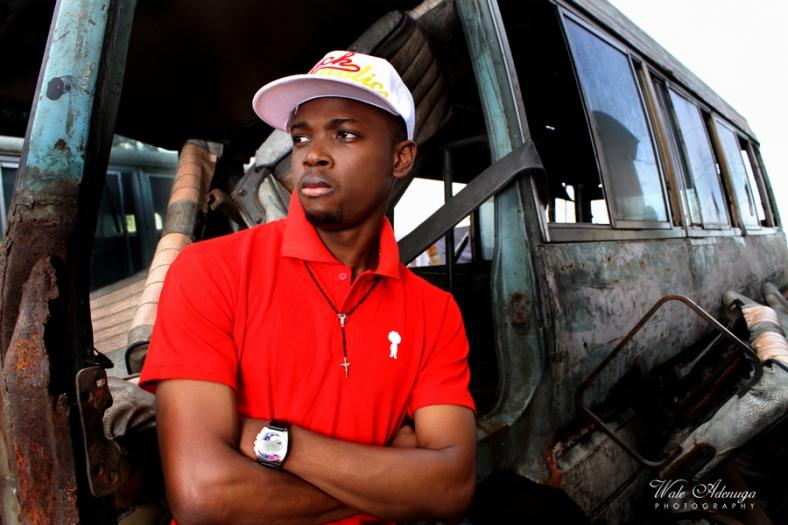 Black Republic clothing, model, Garage, Dead bus, Red, Lagos Island, Wale Adenuga Photography