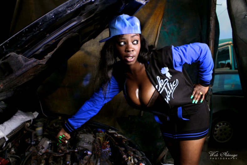 Anita, model, cleavage, car, jacket, paint shop, Black Republic, @waleadenuga, Wale Adenuga Studios
