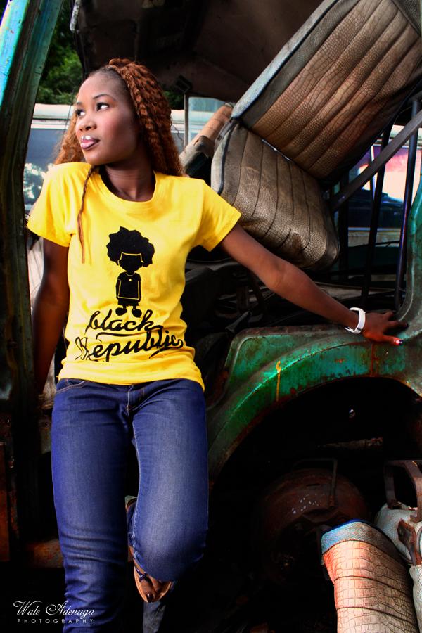 model, yellow, dead bus, green, mechanic shop, Black Republic clothing, Wale Adenuga Photography