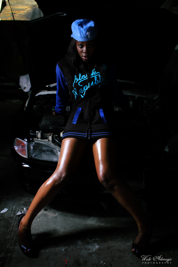 model, Anita, paint shop, Black Republic, Wale Adenuga Studios, Wale Adenuga Photography, Lagos,car