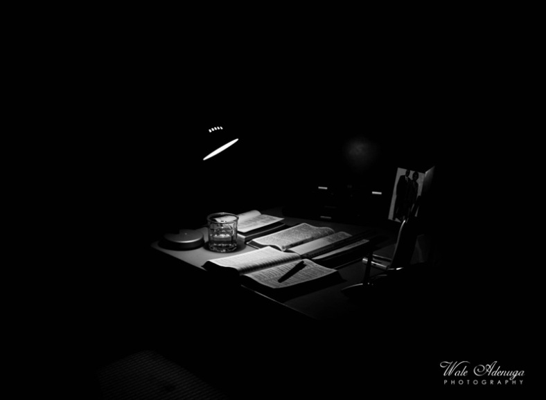 table, books, bible, laptop, lamp, telephone, glass, pen, Wale Adenuga Photography