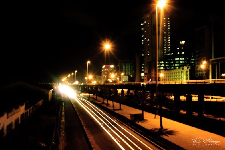 car, motion, Night, streetlights, skyscrapper, buildings, bridge, trees, light, Wale Adenuga studios
