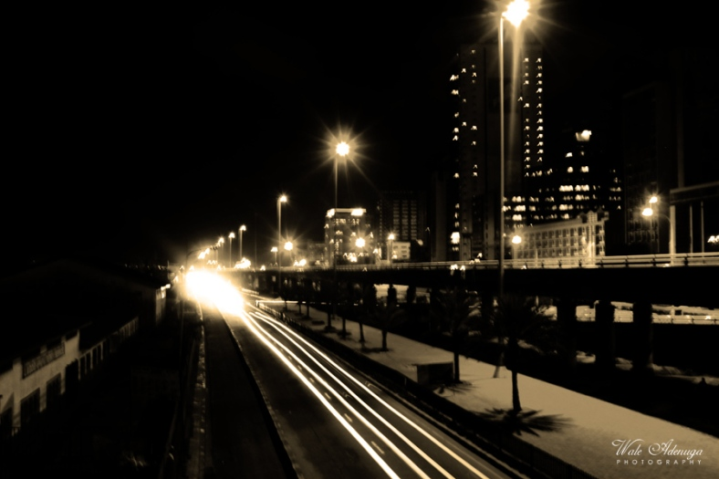 Night light, bridge, ThirdMainland Bridge, CMS, Lagos island, Wale Adenuga Photography