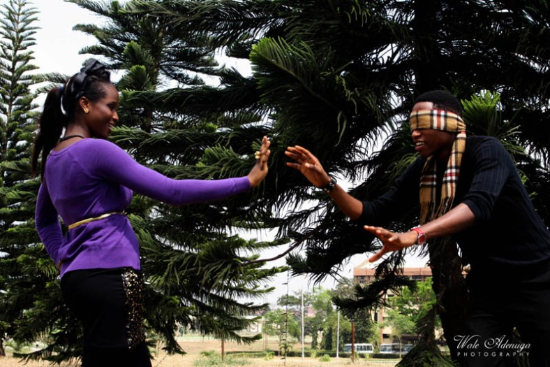 Love, building, tree, model, couples, scarf, purple, blindfold, Wale Adenuga Photography