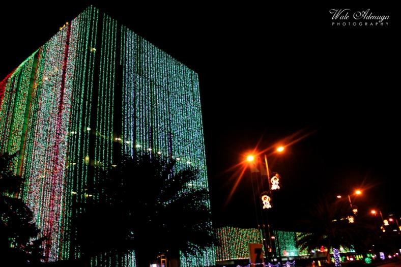 xmas lights, road, street lights, Night, Zenith Bank road, VI, Lagos, Wale Adenuga Photography