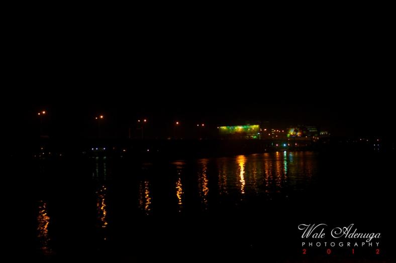 Ikoyi bridge, ocean, street lights, colors, reflections, Wale Adenuga Studios, 2012